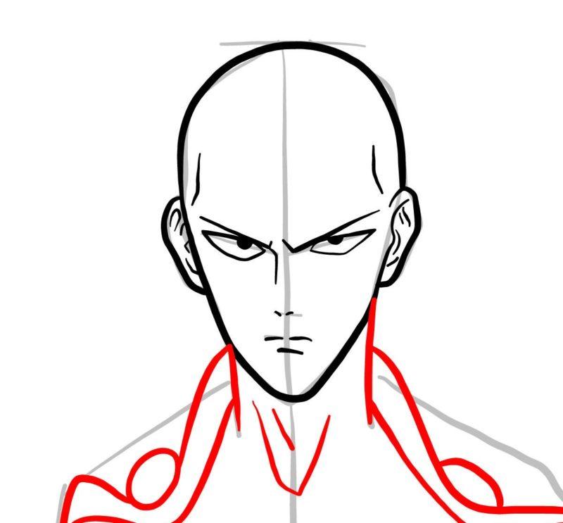 Рисуем лицо Сайтамы 4