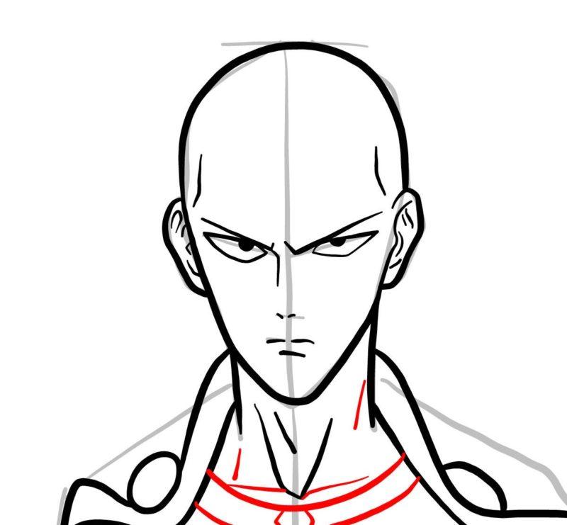 Рисуем лицо Сайтамы 5