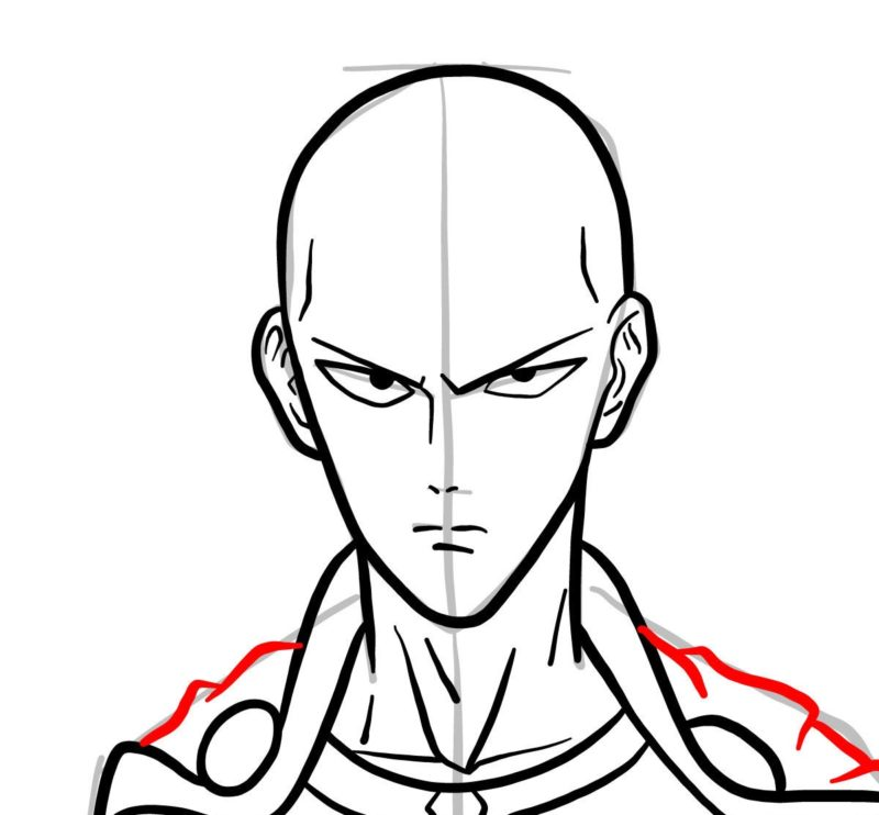 Рисуем лицо Сайтамы 6