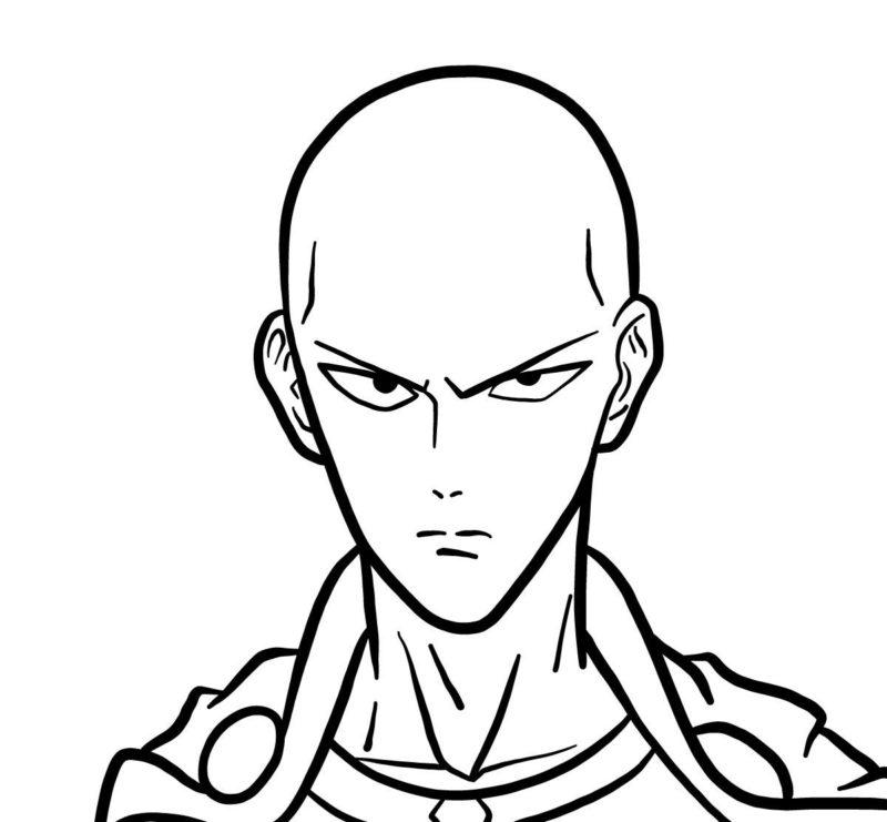 Рисуем лицо Сайтамы 7