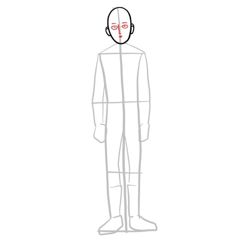 Поэтапно нарисовать Сайтаму 4