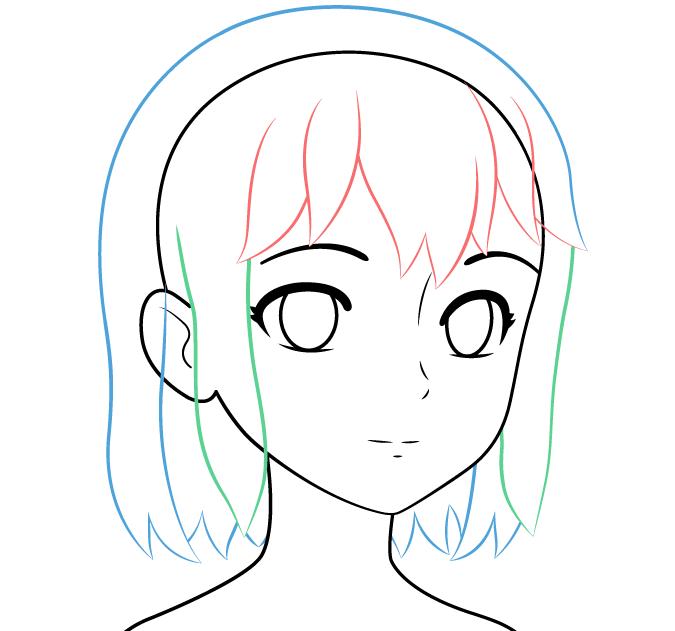 аниме волосы нарисовать