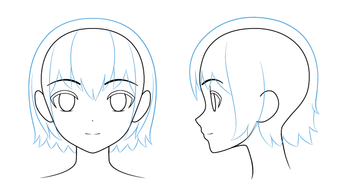 волосы аниме нарисовать