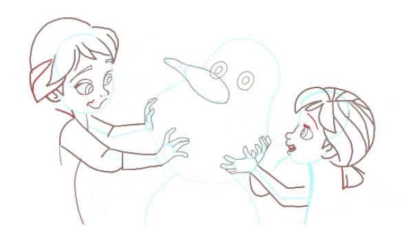 Поэтапно нарисовать Анну и Эльзу 10