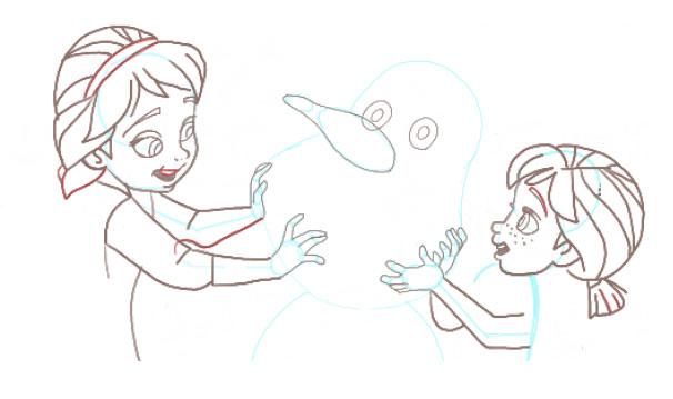 Поэтапно нарисовать Анну и Эльзу 11