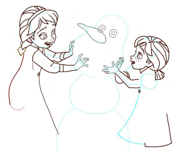 Поэтапно нарисовать Анну и Эльзу 12