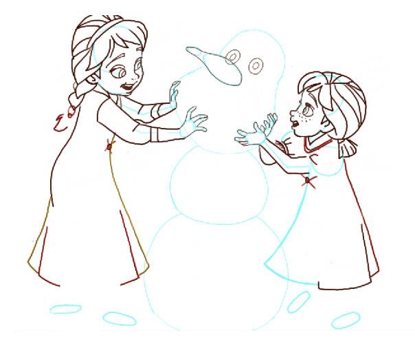 Поэтапно нарисовать Анну и Эльзу 13