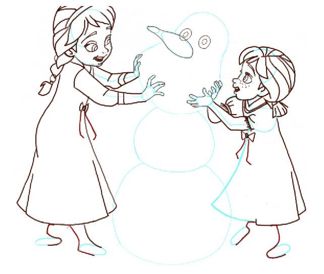 Поэтапно нарисовать Анну и Эльзу 14