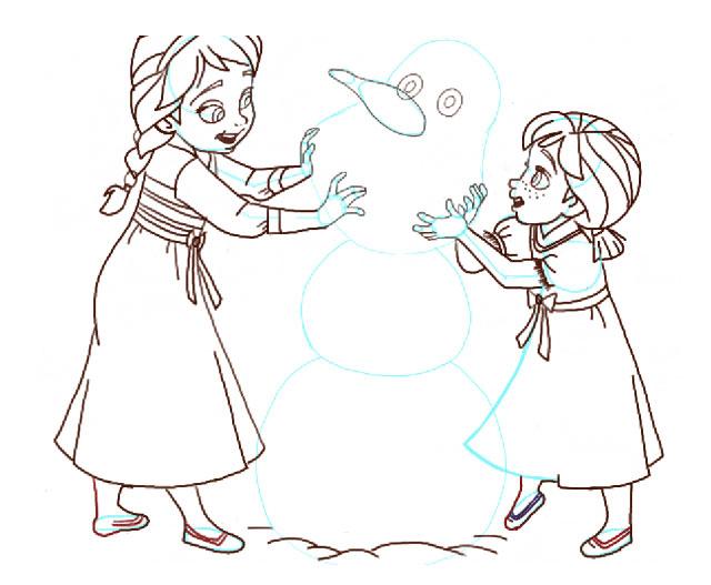 Поэтапно нарисовать Анну и Эльзу 15