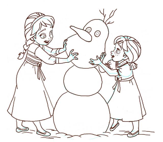 Поэтапно нарисовать Анну и Эльзу 16