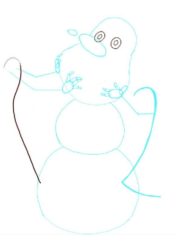 Поэтапно нарисовать Анну и Эльзу 3