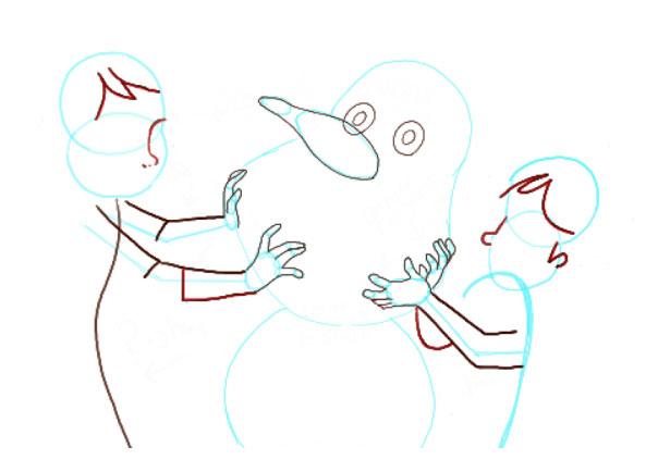 Поэтапно нарисовать Анну и Эльзу 7