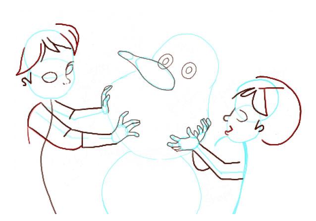 Поэтапно нарисовать Анну и Эльзу 8
