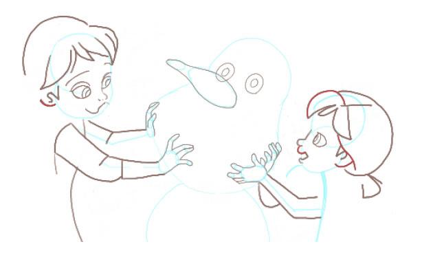Поэтапно нарисовать Анну и Эльзу 9