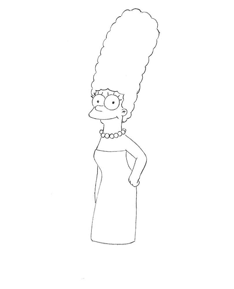 как нарисовать Мардж Симпсон 5
