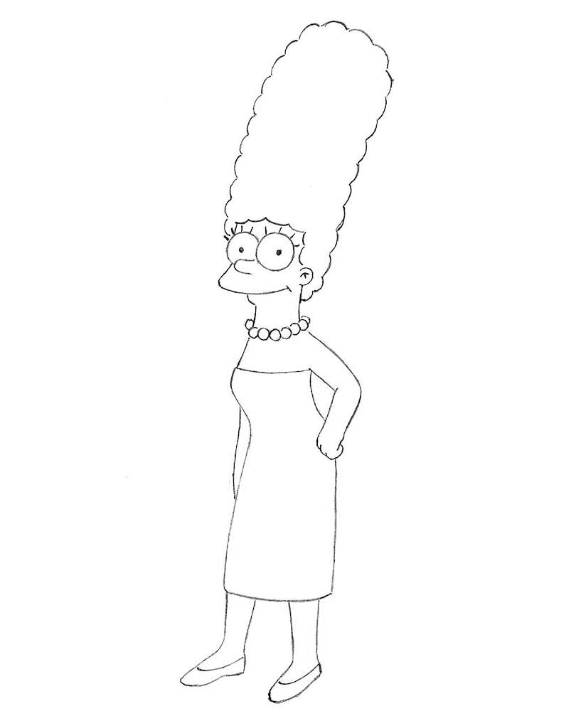 как нарисовать Мардж Симпсон 6