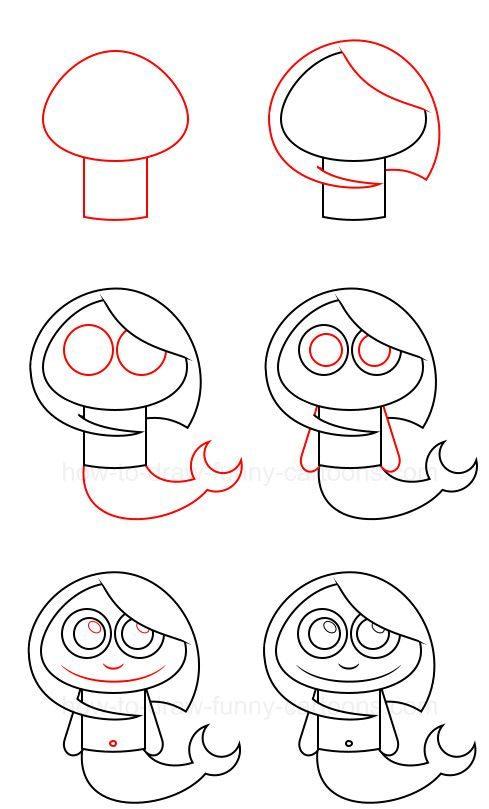 русалка легко рисовать