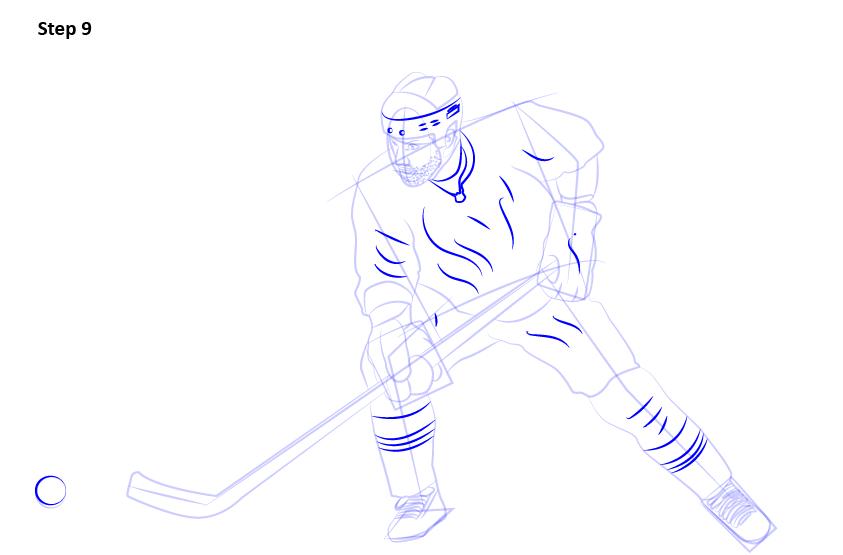 как нарисовать хоккеиста 9