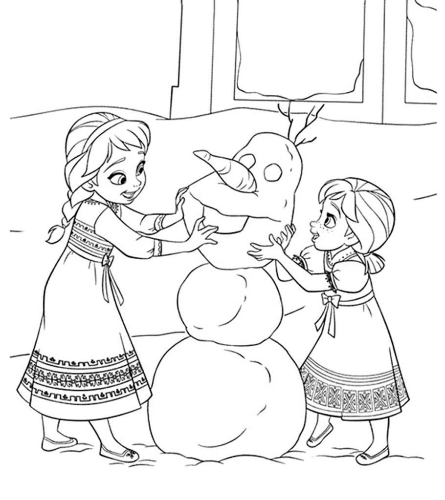 Раскраски Анны и Эльзы 11