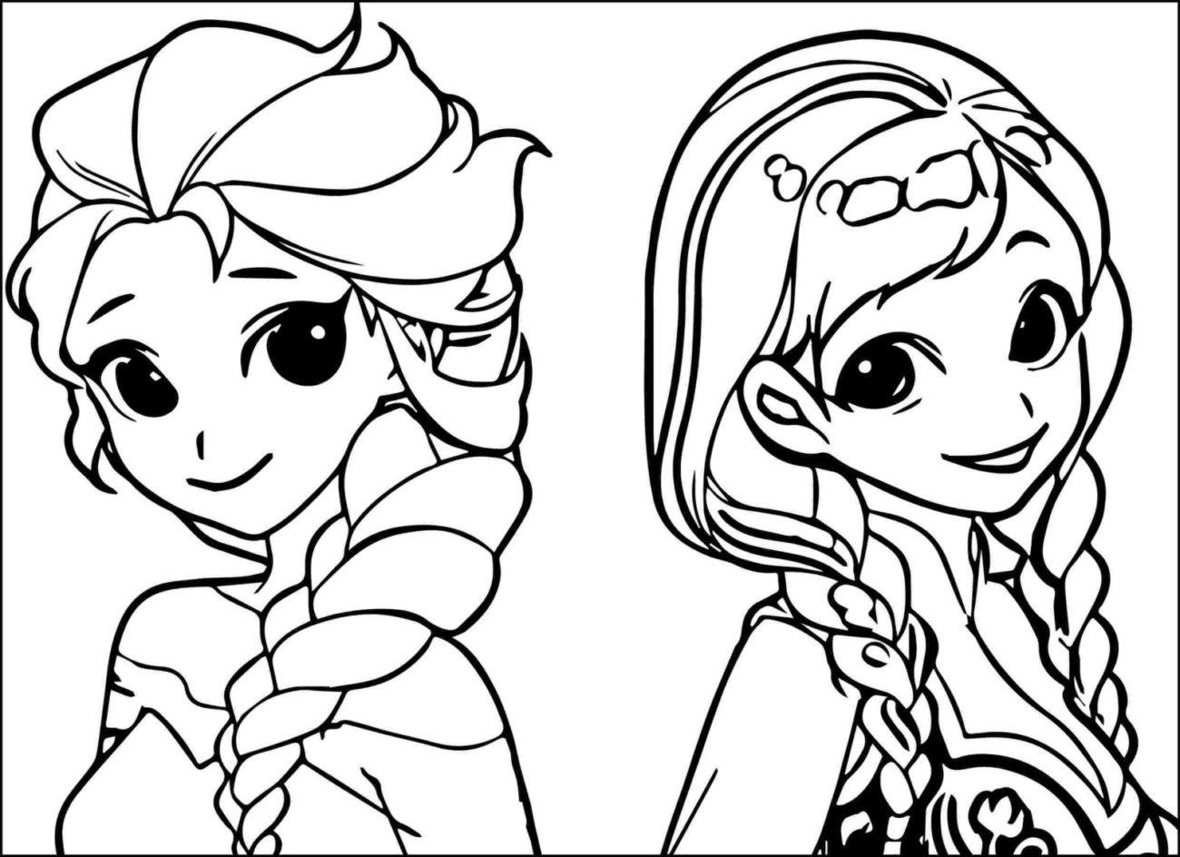 Раскраски Анны и Эльзы 12