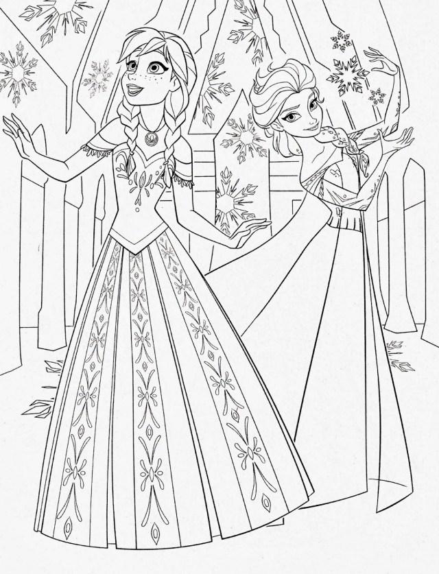 Раскраски Анны и Эльзы 13