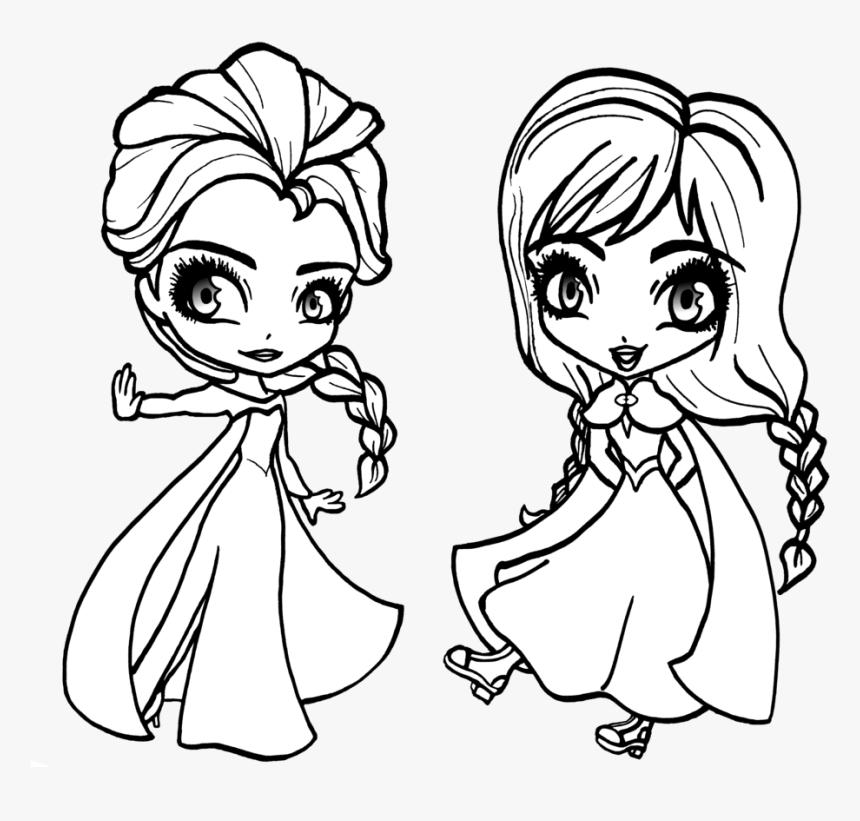 Раскраски Анны и Эльзы 14