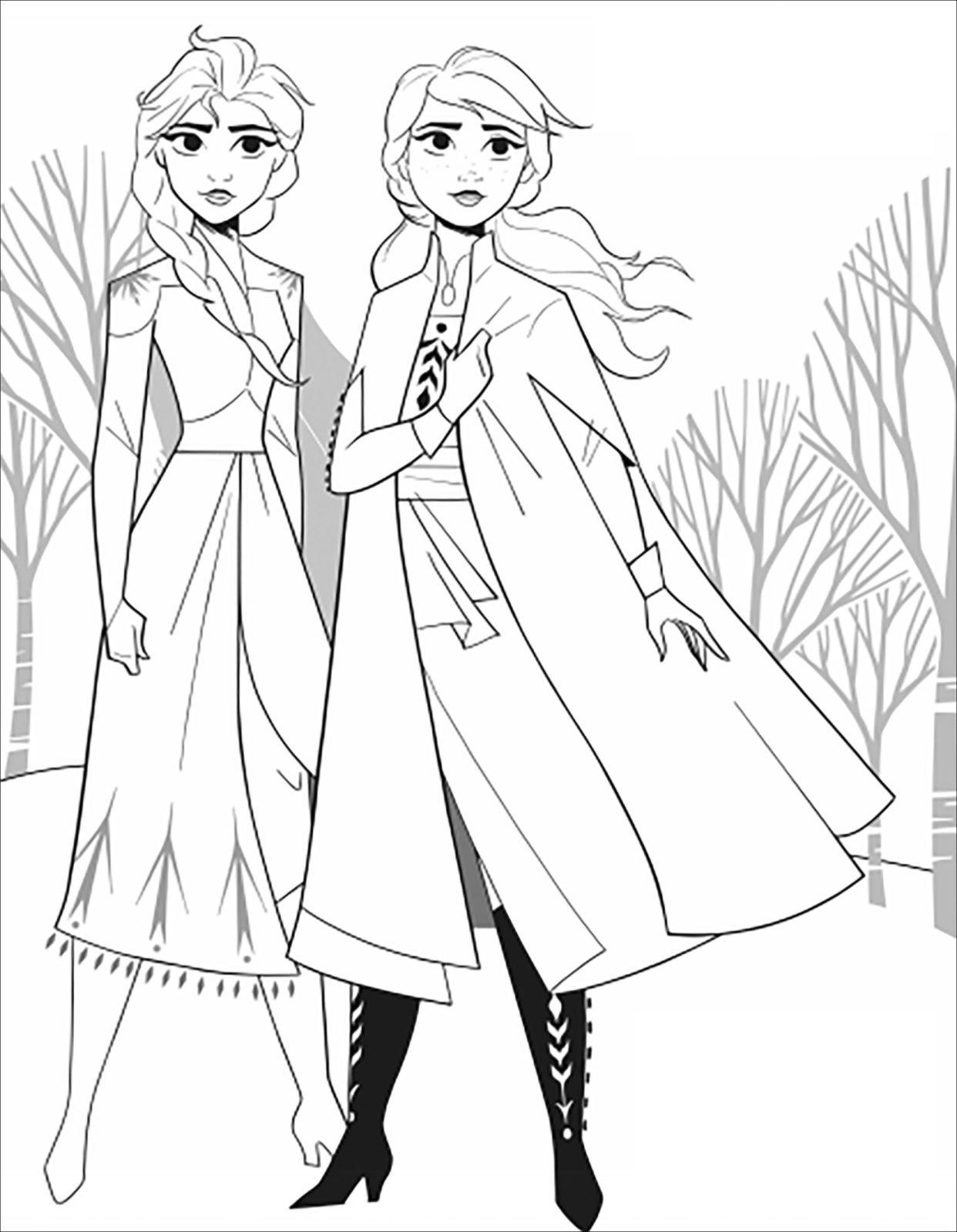 Раскраски Анны и Эльзы 17