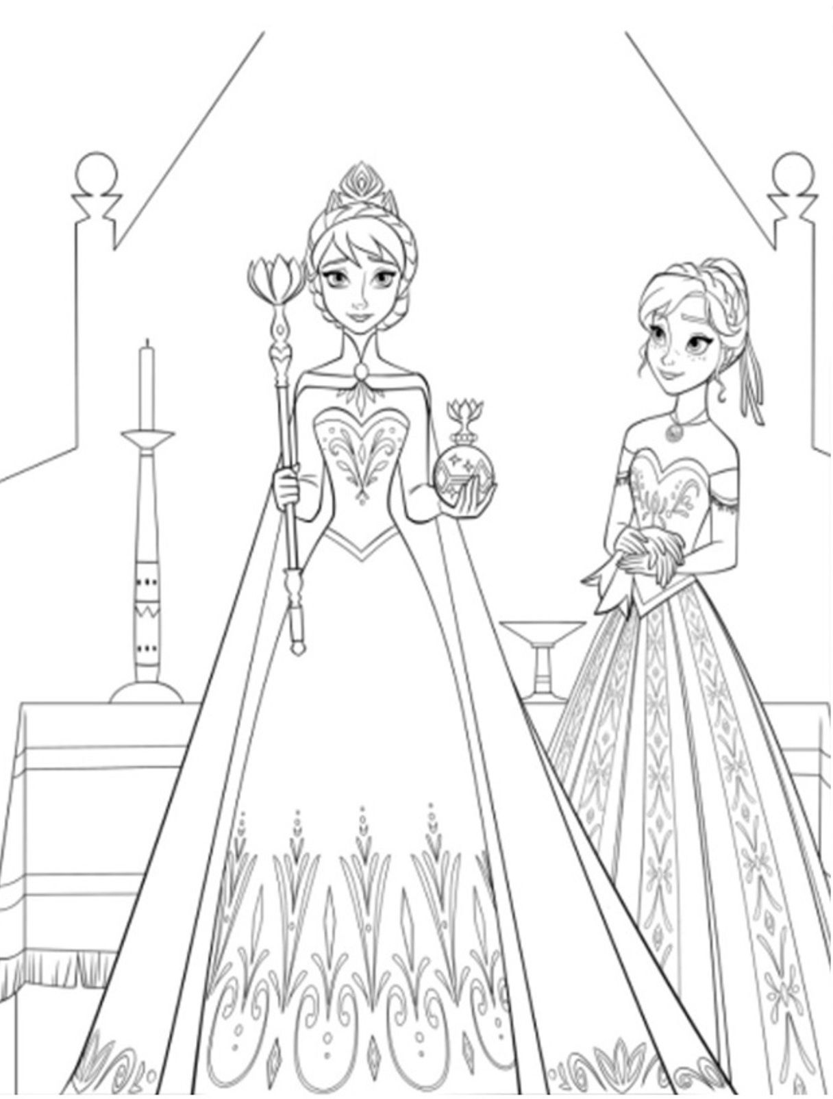 Раскраски Анны и Эльзы 19