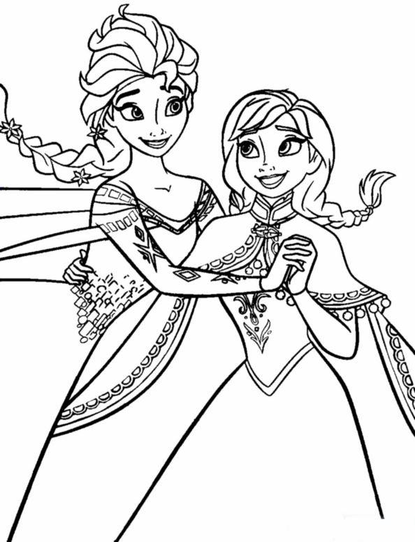 Раскраски Анны и Эльзы 3