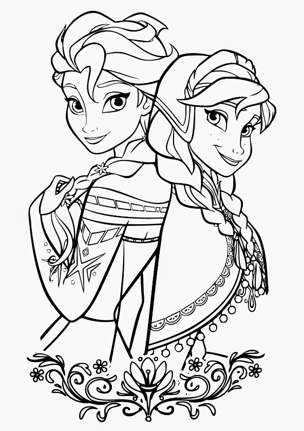 Раскраски Анны и Эльзы 9
