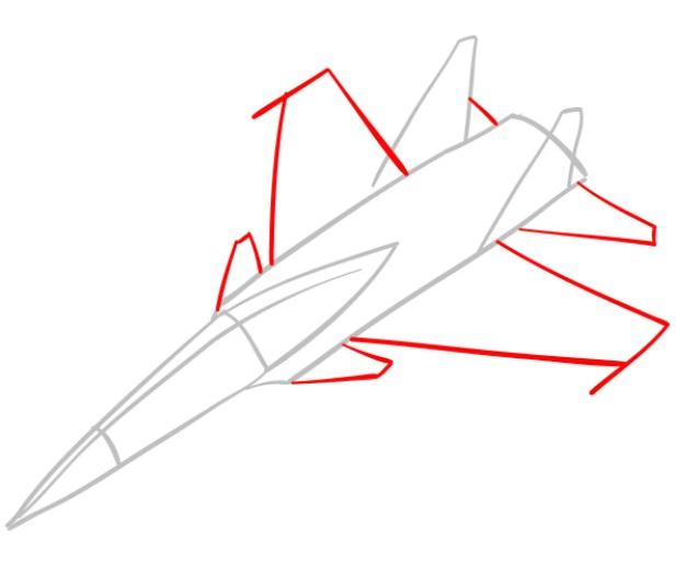 Как нарисовать истребитель Су 30 2