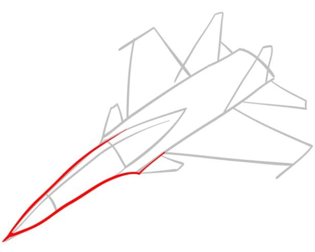 Как нарисовать истребитель Су 30 3
