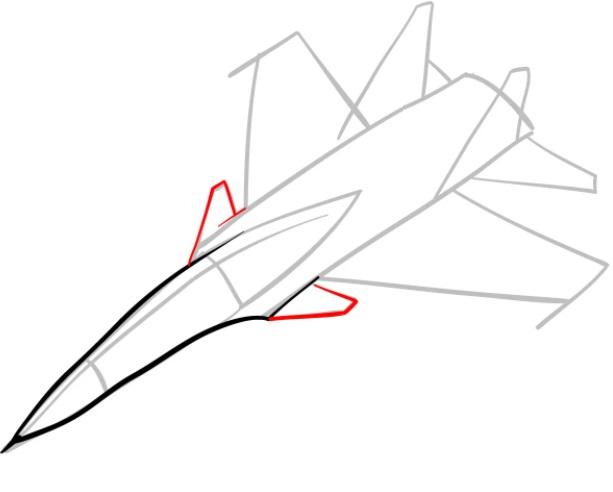 Как нарисовать истребитель Су 30 4
