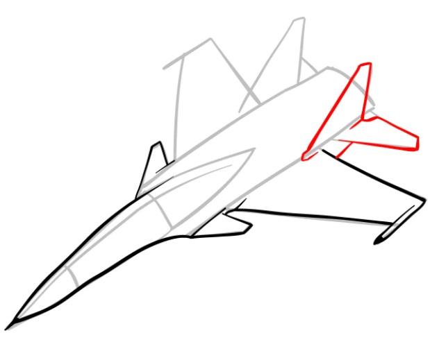 Как нарисовать истребитель Су 30 5