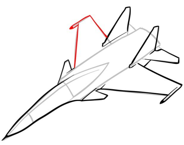 Как нарисовать истребитель Су 30 6