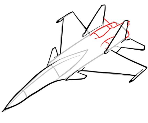 Как нарисовать истребитель Су 30 7