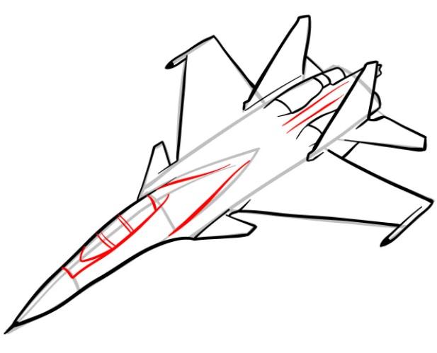 Как нарисовать истребитель Су 30 8