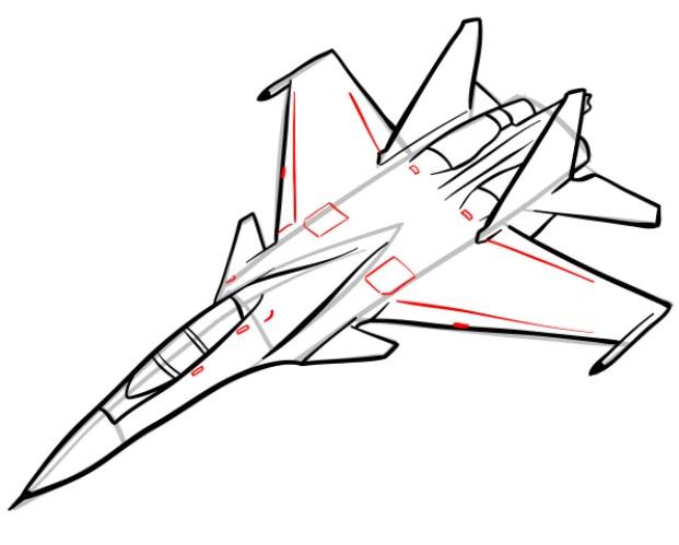 Как нарисовать истребитель Су 30 9