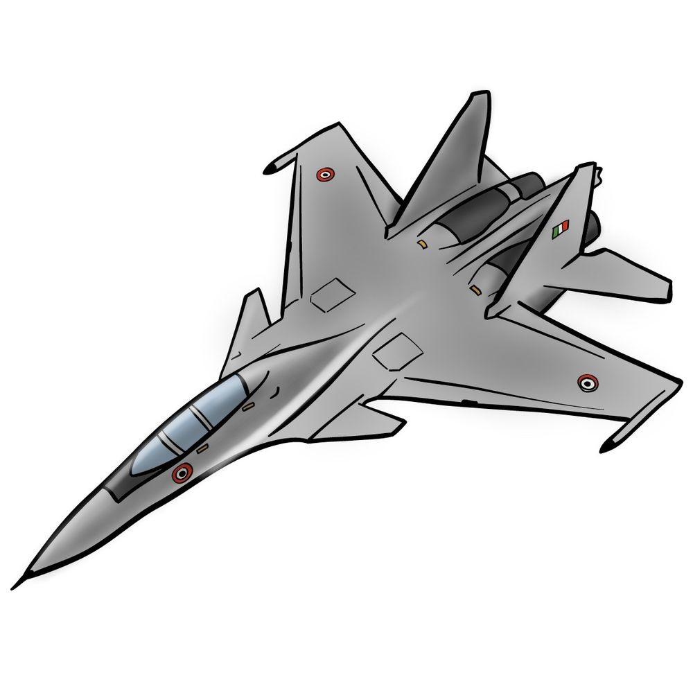 Как нарисовать истребитель Су 30 0